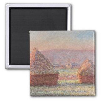 Salida del sol blanca de Frost de Claude Monet Imán Cuadrado