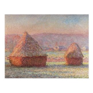 Salida del sol blanca de Frost de Claude Monet Postal