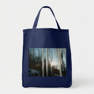 Salida del sol con fotografía de la naturaleza del bolsa tela para la compra