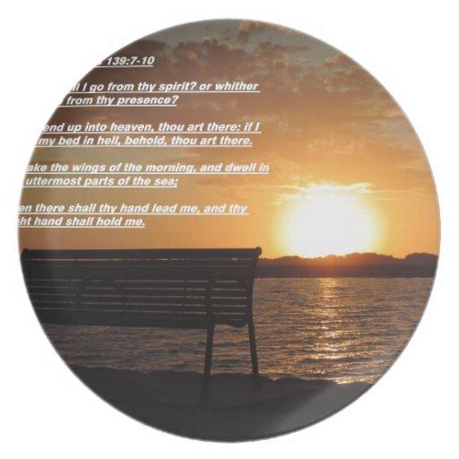salida del sol con verso de la biblia platos