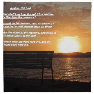 salida del sol con verso de la biblia servilleta
