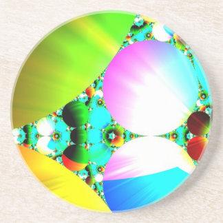 Salida del sol cristalina - arco iris abstracto de posavasos personalizados