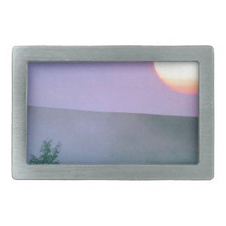 Salida del sol Dakota del Norte brumoso Hebillas De Cinturón Rectangulares