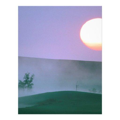 Salida del sol Dakota del Norte brumoso Plantillas De Membrete