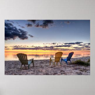 Salida del sol de 3 sillas póster