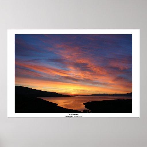 Salida del sol de Anderson del lago Impresiones