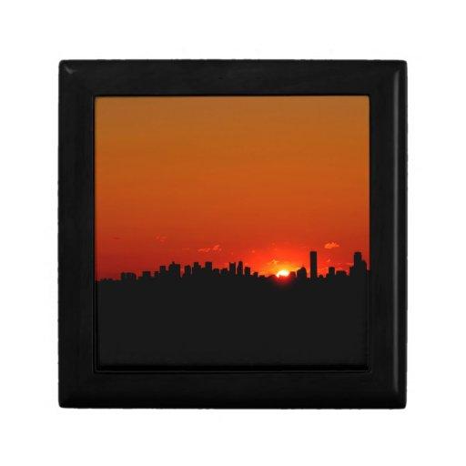 Salida del sol de Boston de la puesta del sol Cajas De Regalo