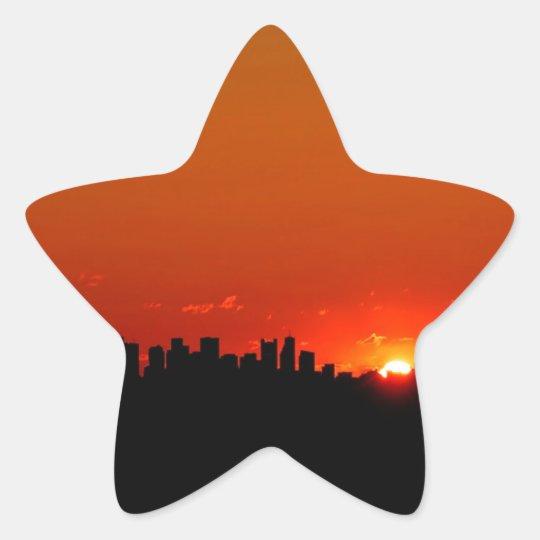 Salida del sol de Boston de la puesta del sol Pegatina En Forma De Estrella
