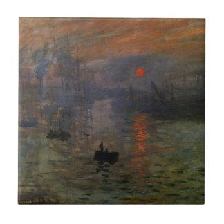 Salida del sol de Claude Monet, arte de la Azulejo Cuadrado Pequeño