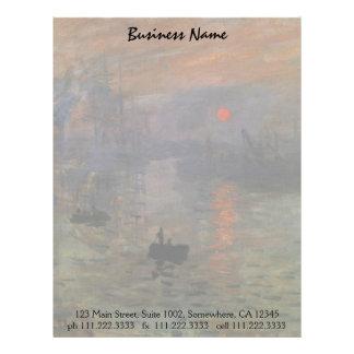 Salida del sol de Claude Monet, arte de la Membrete