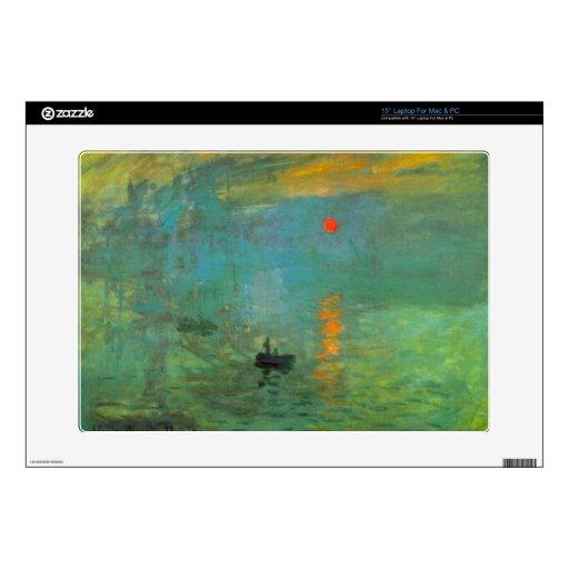 Salida del sol de Claude Monet Calcomanía Para Portátil
