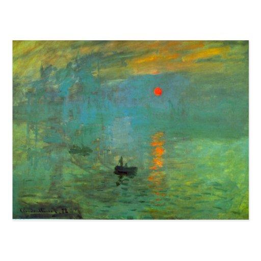 Salida del sol de Claude Monet Postales
