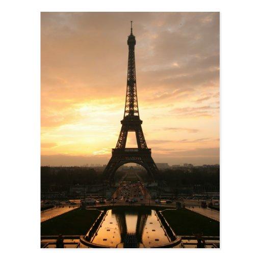 salida del sol de Eiffel Tarjeta Postal
