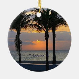 Salida del sol de Fort Lauderdale Adorno Navideño Redondo De Cerámica