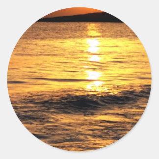 Salida del sol de Grecia Etiquetas Redondas