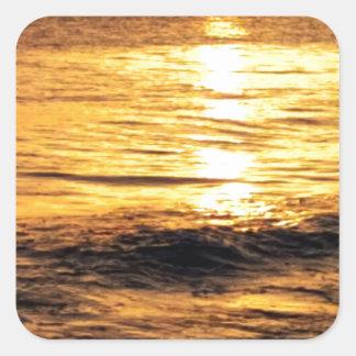 Salida del sol de Grecia Calcomanía Cuadradas