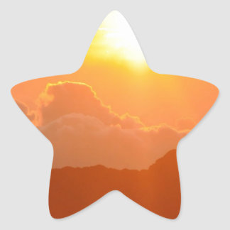 Salida del sol de Haleakala en Hawaii Pegatina En Forma De Estrella