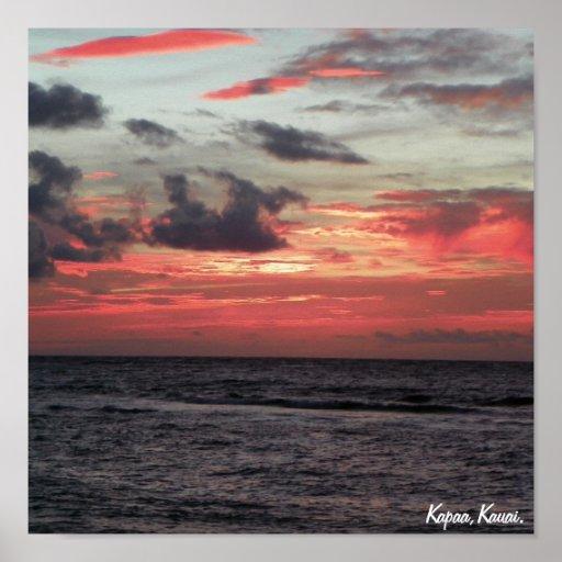 Salida del sol de Kapaa Póster