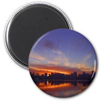 Salida del sol de la bahía de San Diego Imán Redondo 5 Cm