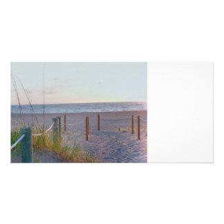 salida del sol de la duna de la playa de la tarjetas fotográficas personalizadas