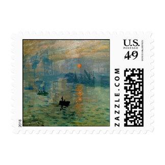 Salida del sol de la impresión de Monet (soleil Estampilla