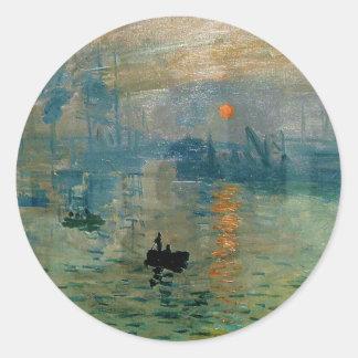 Salida del sol de la impresión de Monet (soleil Pegatina Redonda
