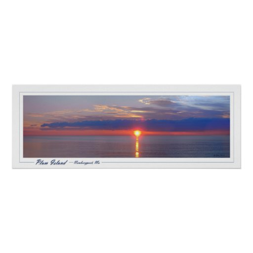 Salida del sol de la isla del ciruelo póster