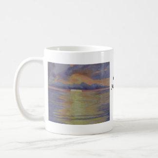 Salida del sol de la lavanda tazas de café