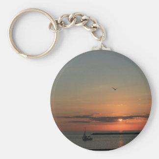 Salida del sol de la madrugada del lago Michigan Llavero Redondo Tipo Pin