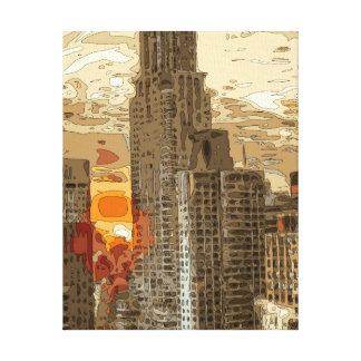 Salida del sol de la mañana en el corazón de lienzo envuelto para galerías