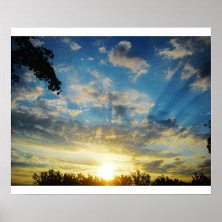 salida del sol de la mañana póster