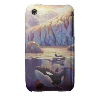 Salida del sol de la orca - ballenas y glaciares funda para iPhone 3 de Case-Mate