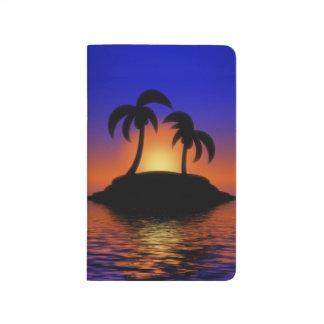 Salida del sol de la palmera cuaderno grapado