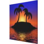 Salida del sol de la palmera impresión en lona estirada