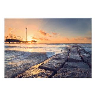 Salida del sol de la playa de Galveston Impresiones Fotograficas