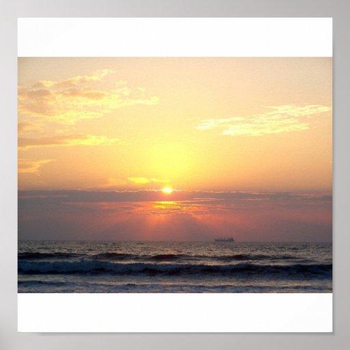 salida del sol de la playa impresiones