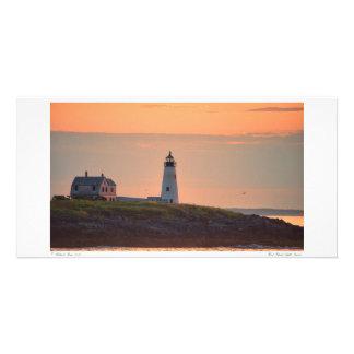 Salida del sol de madera de la luz de la isla tarjetas con fotos personalizadas