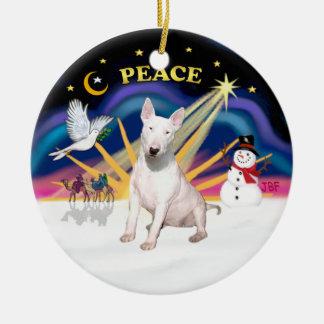 Salida del sol de Navidad - bull terrier Ornamentos De Reyes