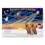 Salida del sol de Navidad - dos Vizslas Tarjeta De Felicitación