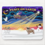 Salida del sol de Navidad - perro de aguas tibetan Tapete De Raton