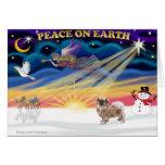 Salida del sol de Navidad - perro de aguas tibetan Felicitación