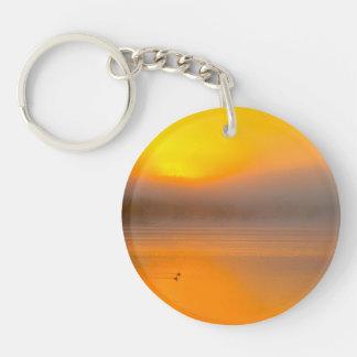 Salida del sol de Ombre que brilla en la foto de Llavero Redondo Acrílico A Doble Cara