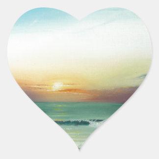 Salida del sol de Outer Banks Pegatina En Forma De Corazón