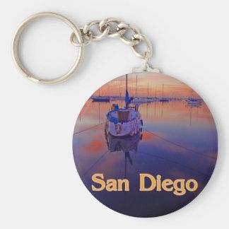 Salida del sol de San Diego Llavero Redondo Tipo Pin