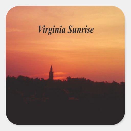 Salida del sol de Virginia Pegatina Cuadrada