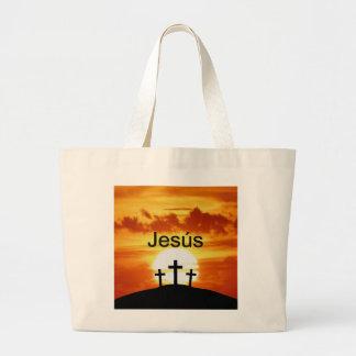 Salida del sol del Calvary de Jesús del español Bolsa Tela Grande