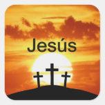 Salida del sol del Calvary de Jesús del español Pegatina Cuadrada