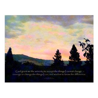 Salida del sol del cielo de julio del rezo de la s postales