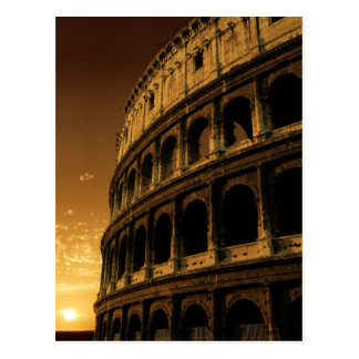 salida del sol del colosseum en Roma Postales