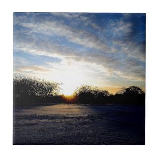 Salida del sol del invierno azulejo cuadrado pequeño